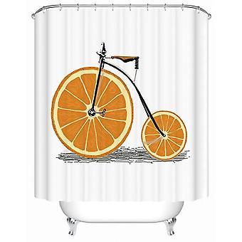 オレンジ 自転車 シャワー カーテン