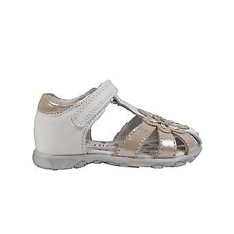 Startrite Primrose White/Silver Leather Girls Closed Toe Sandals