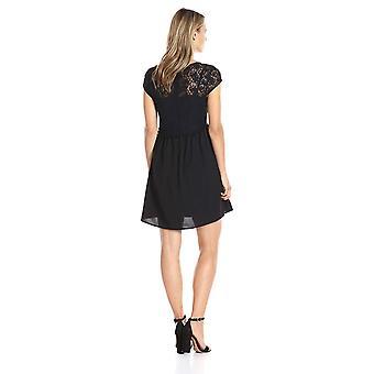 kensie Women's Lace Netting Dress, Black, XS, Black, Size X-Small