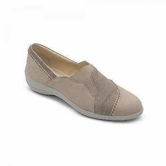 Padders Ruth Ladies Leather Wide (e Fit) Shoes Light Taupe