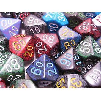 Chessex Dice: Bag of 50 Assorted Speckled Polyhedral Tens 10 Dice CHX 29311
