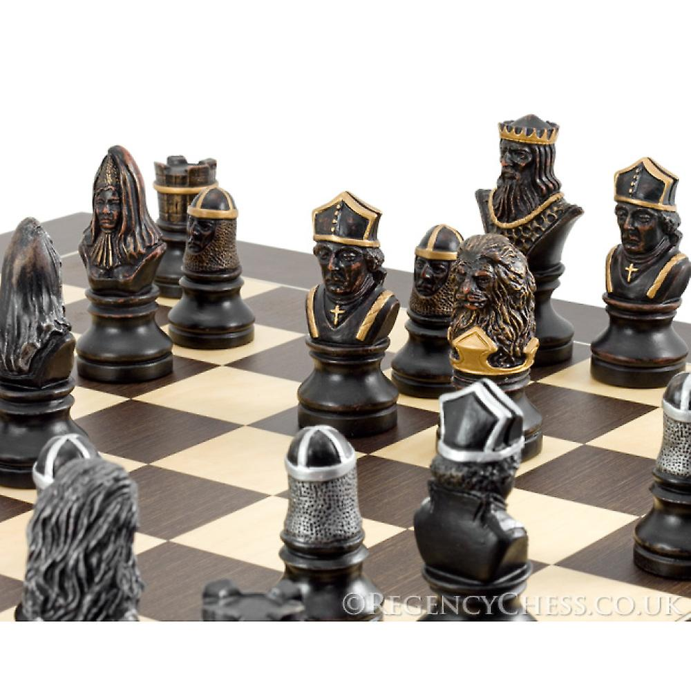 Richard the Lionheart Hand Painted Wenge Chess Set