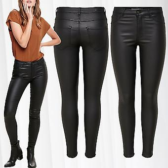 JDY Womens Pants Leather Optics Biker Skinny Coated Synthetic Trousers Tube