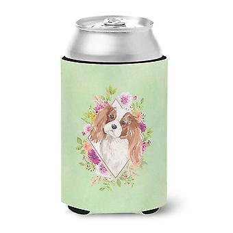 Blenheim Cavalier Spaniel Green Flowers Can or Bottle Hugger