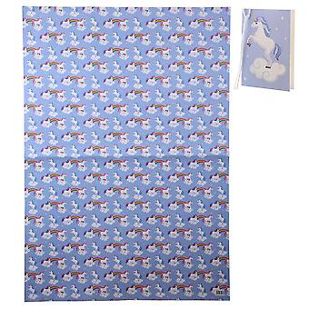 Unicorn gift wrapping paper 12-piece set lilac, colorfully printed, made of paper, incl. gift tags.