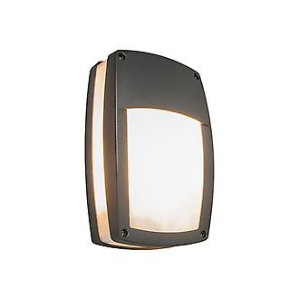 QAZQA Modern Outdoor Wall Lamp Dark Grey - Glow Recta 1