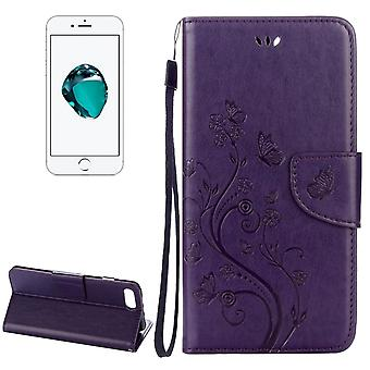 For iPhone 8 PLUS,7 PLUS Wallet Case,Butterflies Emboss Leather Cover,Purple