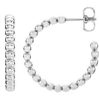 925 Sterling Sølv 12x2.5mm Poleret Beaded Hoop Øreringe smykker Gaver til kvinder - 1,7 Gram