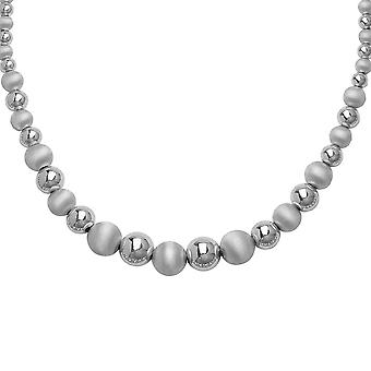 925 Sterling Silver Rhodium Plated 12mm Graduated Shiny Satin Bead Chain Necklace 18 Inch Jewelry Gifts for Women