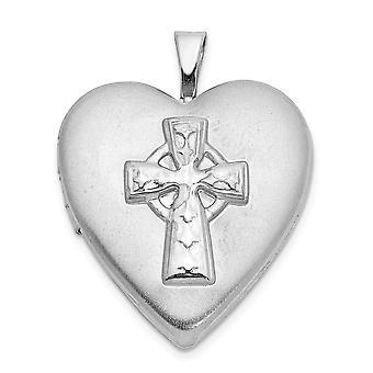 925 Sterling Silver Engravable Rhodium banhado Religious Faith Cross Love Heart Photo Locket Pendant Necklace Joalhe Gif