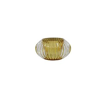 Light & Living Tealight 11x6.5cm - Pertu Clear Glass And Yellow