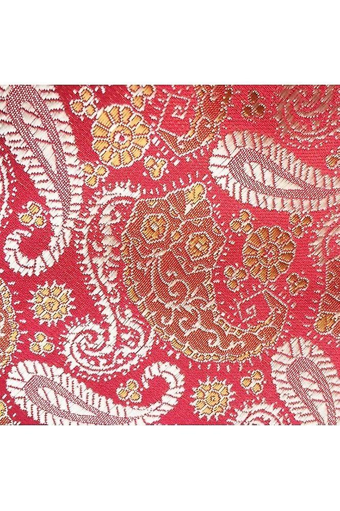 JSS Red & Gold Paisley Silk Neck Tie, Pocket Square & Cufflink Set