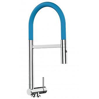 Single-lever Chromed Kitchen Sink Mixer met lichtblauwe beweegbare tuit en 2 Jets Shower - Slechts 4,5 cm - 514