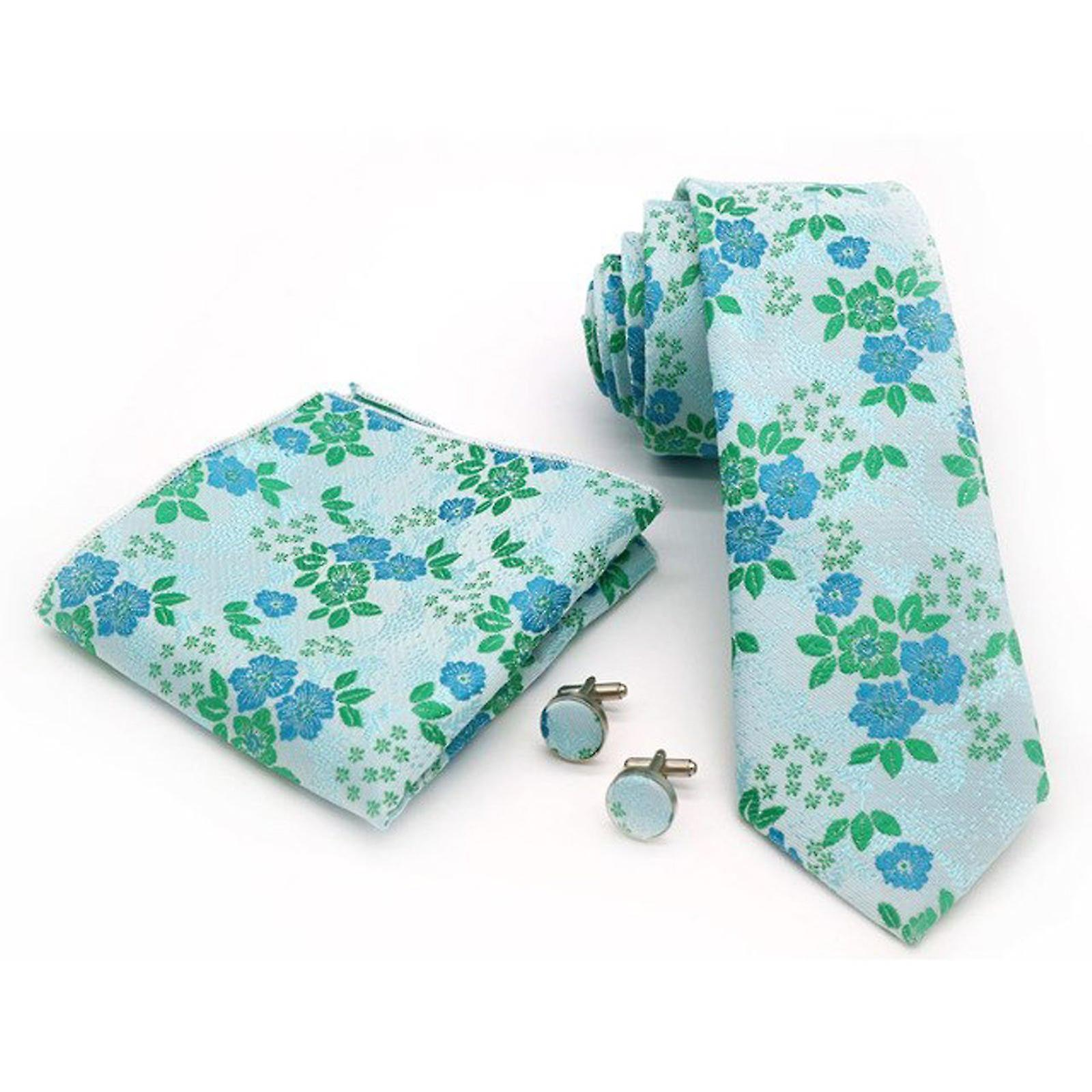 Teal floral three piece tie cuff link & pocket square
