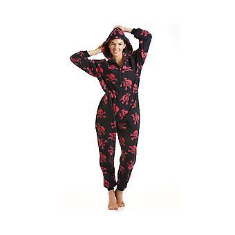 Camille Womens Damen Luxus alles In einem schwarzen und roten Totenkopf Print Hooded Fleece Strampler Schlafanzug Größen 10-40