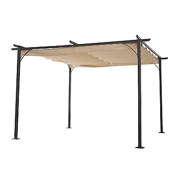 Outsunny 3.5M X 3.5M Metal Pergola Gazebo Awning Retractable Canopy Outdoor Garden Sun Shade Shelter Marquee Party BBQ