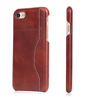 Para iPhone 8,7 Wallet Case, Capa de couro de vaca protetora de cera elegante, marrom escuro