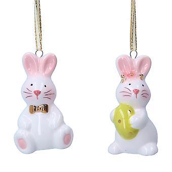 Gisela Graham Single 6cm Opknoping Keramisch konijn voor Pasen