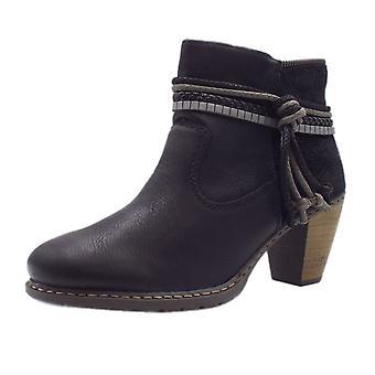 ريكر Z1580-00 أزياء أحذية الكاحل الأزهار باللون الأسود