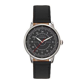 Elevon Gauge Leather-Band Watch - Silver/Black