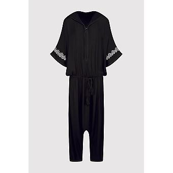 Souad hooded cropped elastic waist jumpsuit and rope belt in black