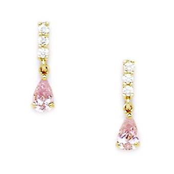 14k Yellow Gold Pink CZ Cubic Zirconia Simulated Diamond Pear Shaped Drop Screw back Earrings Measures 13x3mm Jewelry Gi