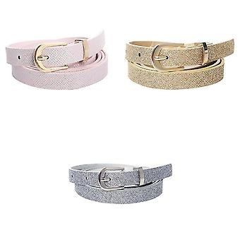 Jewlcity Womens/Ladies Sparkle Skinny Belt