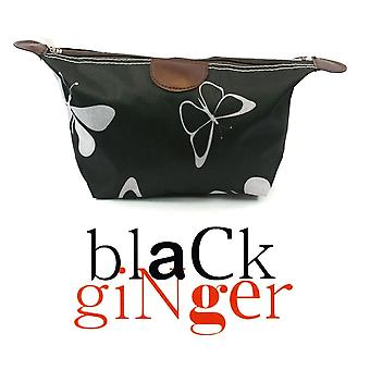 Black GingerBlack & White Canvas Make Up Bag with Butterfly Design (104-571)