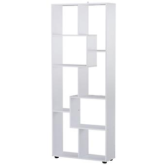 HOMCOM 8-Tier Freestanding Bookcase w/ Melamine Surface Anti-Tipping Foot Pads Home Display Storage Grid Stand Bedroom Living Room Furniture Modern Style - White