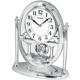 Rhythm 7609/19 Table clock Quartz analog with pendulum silver