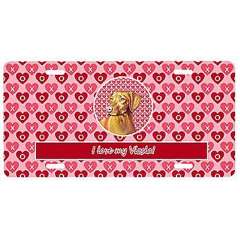 Carolines Schätze LH9145LP Vizsla Valentine's Liebe und Herzen Nummernschild