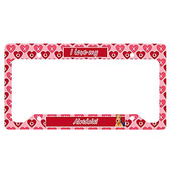 Carolines Treasures  LH9156LPF Airedale Valentine's Love and Hearts License Plat