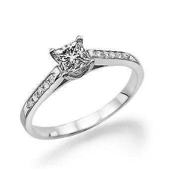 14K Weißgold 0,45 CTW 4,00 MM Moissanite Forever einen Verlobungsring mit Diamanten farblos VVS