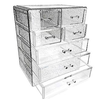 OnDisplay Cosmetic Makeup and Jewelry Storage Case Display - 7 Drawer Silver Glitter Design - Perfect for Vanity, Bathroom Counter, or Dresser