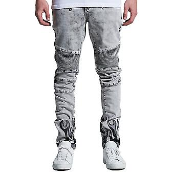 Embellish La Flame Biker Denim Jeans Acid Bleached Wash