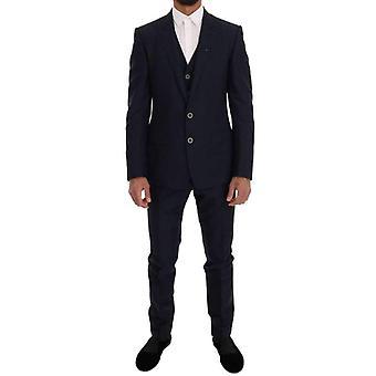 Dolce & Gabbana Blue Wool Martini 3 Piece Slim Fit Suit -- KOS1742704