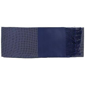 Eingewandt London schmale Pin Dot Silk Schal - Navy