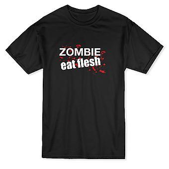 """Blut durch """"Zombie Fleisch essen"""" lustiges Zitat Herren T-shirt"""