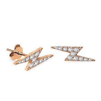 Korvakorut Stud Zig Zag 18K kulta ja timantit (yksi kappale)