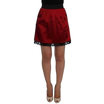Dolce & Gabbana Red Black Lace A-Line Above Knee Skirt -- SIG2808645