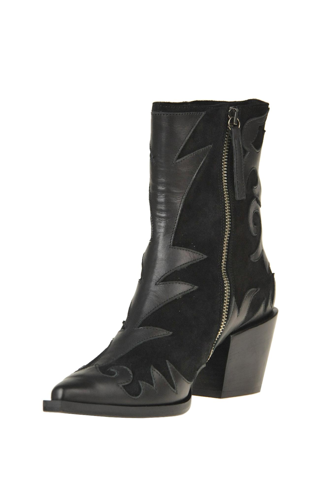 Myaclara Ezgl520001 Women's Black Leather Ankle Boots