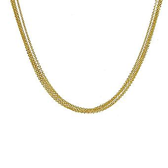 14k Yellow Gold 5 Strands Cable Multi Strands Chain Necklace Jewelry Gifts for Women - Length: 16 to 18