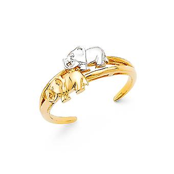 14k Gold Elephant Toe Ring Jewelry Gifts for Women - 1.9 Grams