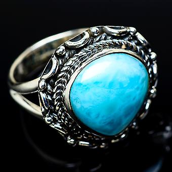 Larimar Ring Size 6.25 (925 Sterling Silver)  - Handmade Boho Vintage Jewelry RING11487