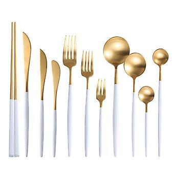 Dinnerware Set Cutlery Dinner Set Western  Gold Tableware