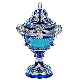 Acuadréntas azules y plateados Faberge-style Egg Trophy Design Trinket Jewellery Box 15675