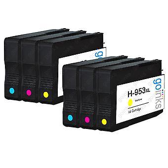 2 Go Inks Compatible C/M/Y Sets ersetzen HP 953 Farbdrucker Tintenpatronen (6 Tinten) - Cyan, Magenta, Gelb kompatibel / nicht-OEM für HP Officejet Drucker