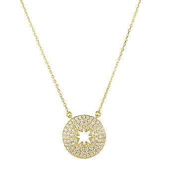 Open Star Disc Pendant Necklace Gold Charm Chain Gemstone Gift Charm Birthday