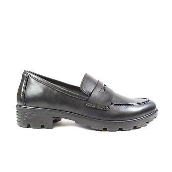 Ricosta Janet 7226300-090 Black Leather Girls Slip On Loafer School Shoes