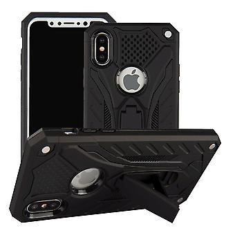 For iPhone XS & X Case, Armour Strong Shockproof Tough Cover Kickstand, Black